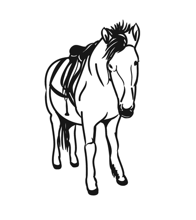 Graphic image of a little horse. A pony with a saddle on his back, the bridle - figure abstraction. Vector illustration on a white background.
