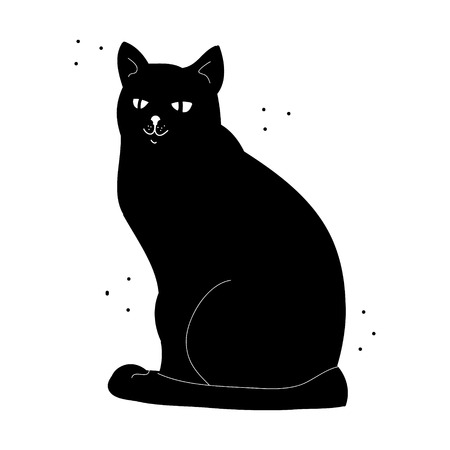 Silhouette of a black cat on a white background. Abstract image - the cat and the flies. Vector illustration Vettoriali