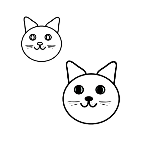 cat s: Round cat s head set illustration in black and white, vector