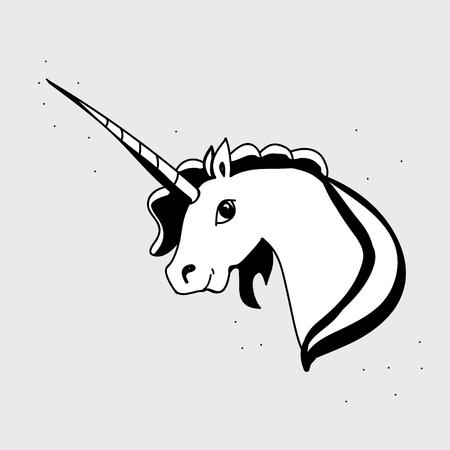 Unicorn head black and white vector illustration Illustration