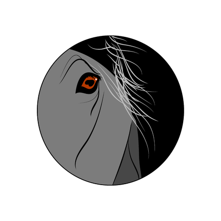 The sight of the horse. Vector round icon. The horses eyes. Illustration