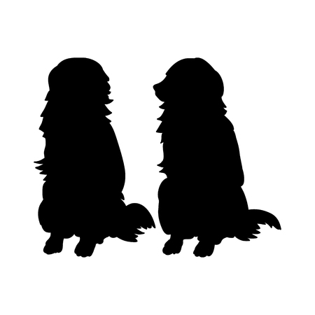 labrador: Black silhouettes of dogs on a white background, set of vector illustrations