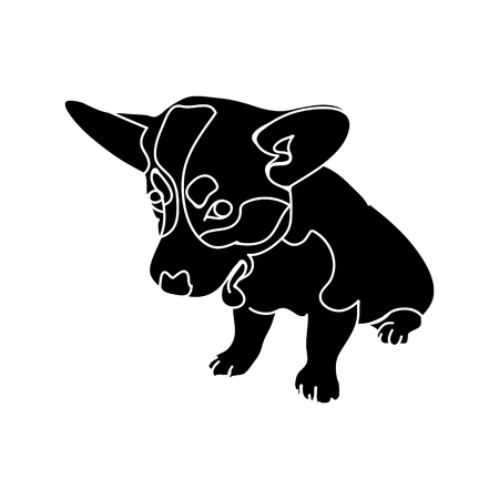 The silhouette of the dog breed Corgi on white background, vector illustration