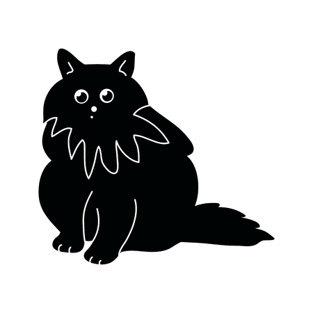Black silhouette of a fluffy cat on a white background, vector illustration