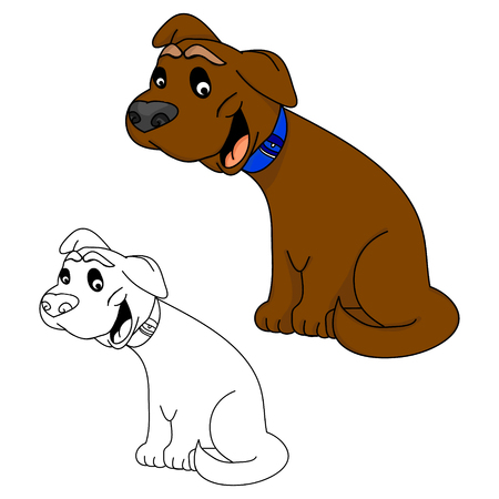 Funny puppy on a white background, vector illustration