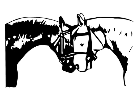 good friends: Two horses - black and white - on a white background, vector illustration