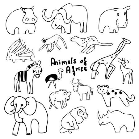 Animals Of Africa On A White Background Of Cartoon Wild Animals