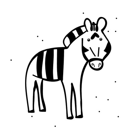 Zebra cartoon Doodle on white background, vector