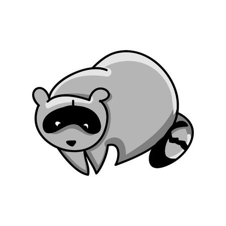 Raccoon on white background, vector illustration Illustration