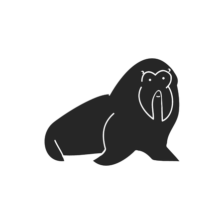 flippers: A silhouette of a walrus on a white background, vector