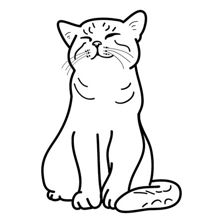 Happy cat on a white background, vector illustration