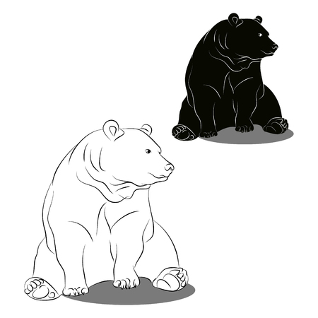 Contour and silhouette bear on white background. Illustration