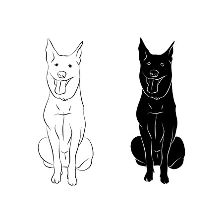 dog outline and silhouette on white background
