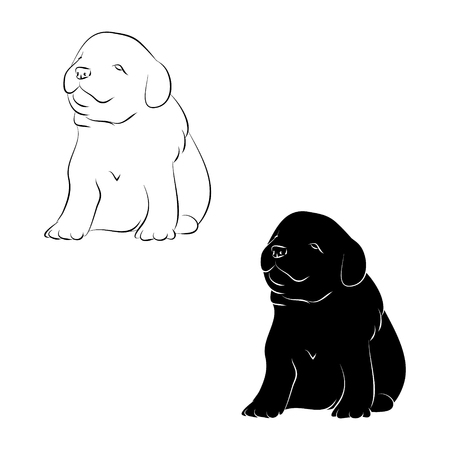 Puppy silhouette and outline, on a white background.