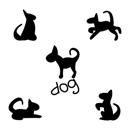 A set of simple images of dogs, dog silhouette on a white background