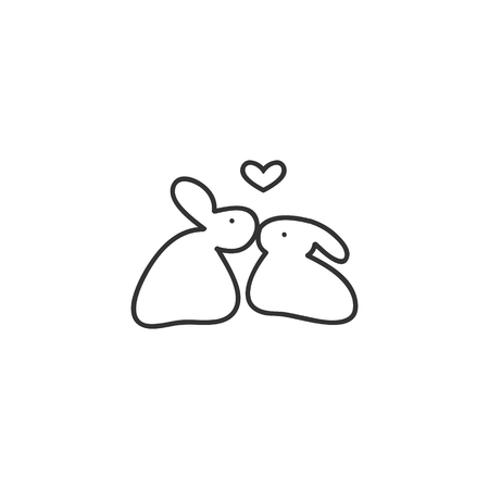Two lovebirds rabbit on white background, vector illustration