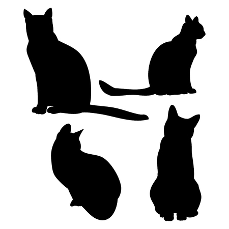 Cat outline on white background, set of vector silhouettes