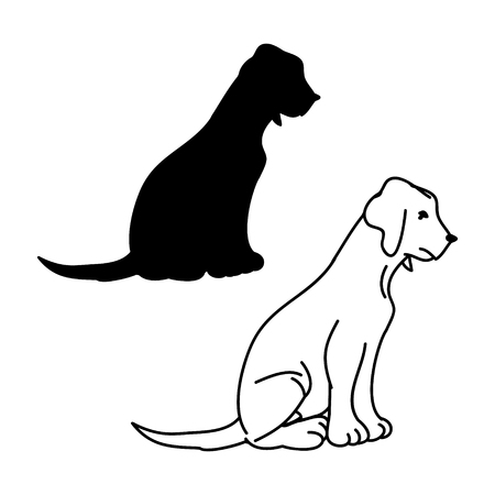 Graphic image of a dog on a white background, vector illustration Standard-Bild - 114863622