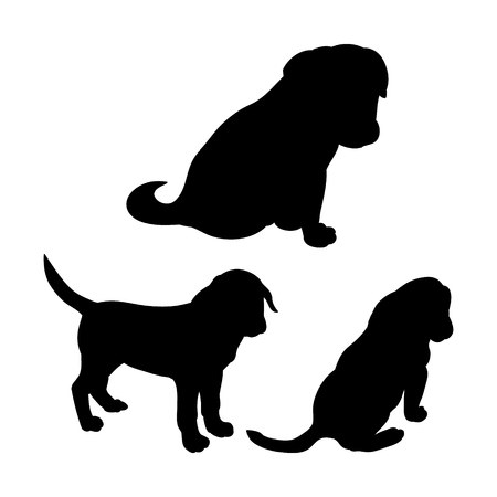 Black puppy silhouette on white background