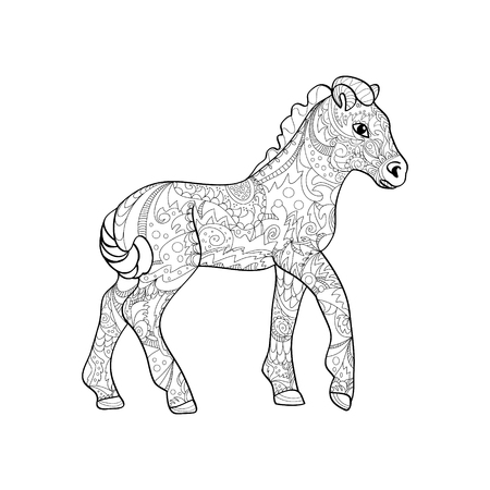 foal zentangle on white background