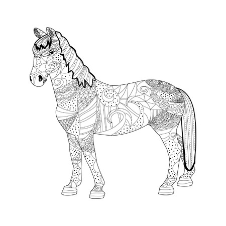 Horse zentangle on a white background, the outline of the stallion 矢量图像