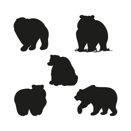 Black bear silhouette, set of illustrations on white background 矢量图像