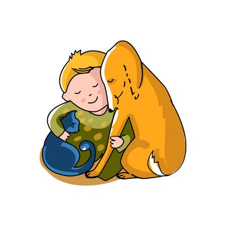Boy hugs cat and dog. Color illustration on white background