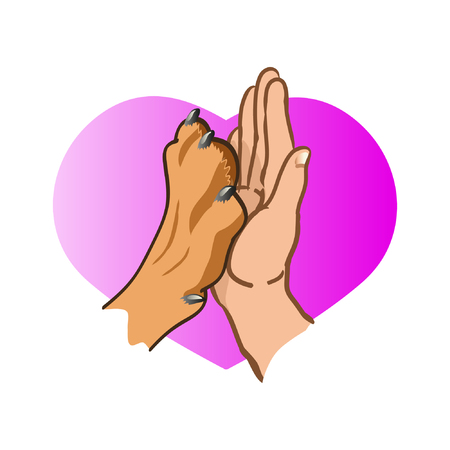 Dog paw and human hand, logo On the background of hearts. Vector illustration on white background 矢量图像