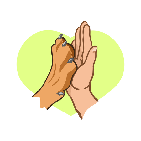 Patte de chien et main humaine, logo Sur le fond des coeurs. Illustration vectorielle sur fond blanc