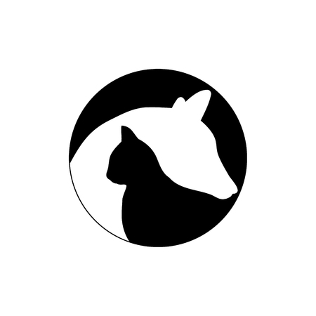 logotype dog and cat. The contour of the Pets on white background 矢量图像