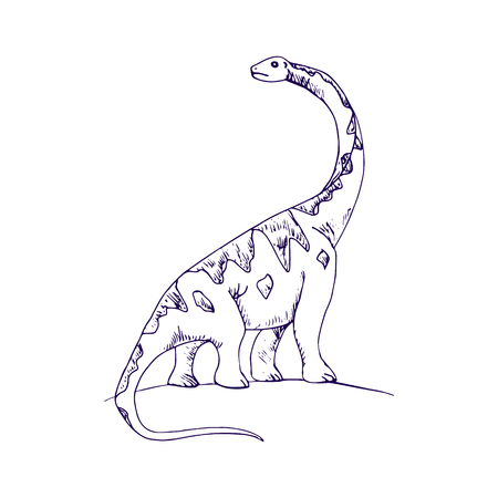 The dinosaur is a child's drawing with pen on white background