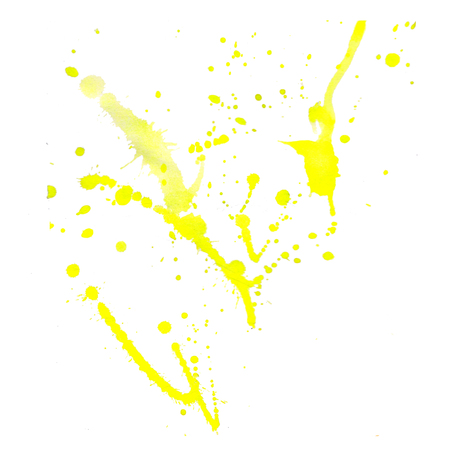 yellow Watercolor blot on a white background