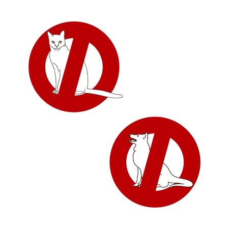 A red circle on a white background, a stop sign. No Pets allowed Ilustrace