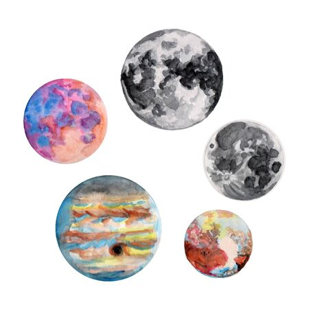 moon planet watercolor contour. Set of illustrations on white background