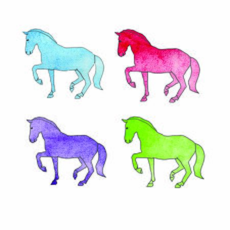 horse watercolor outline. Set of illustrations on white background