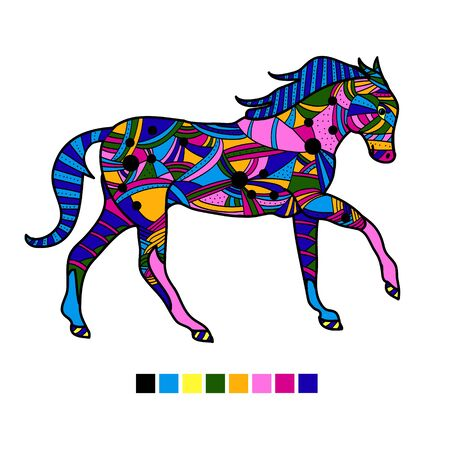 Highly detailed abstract  illustration. Animal patterns with hand-drawn doodle waves and lines. Vector illustration in bright colors