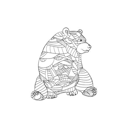 Highly detailed abstract Bear  illustration. Animal patterns with hand-drawn doodle waves and lines. Vector illustration in bright colors