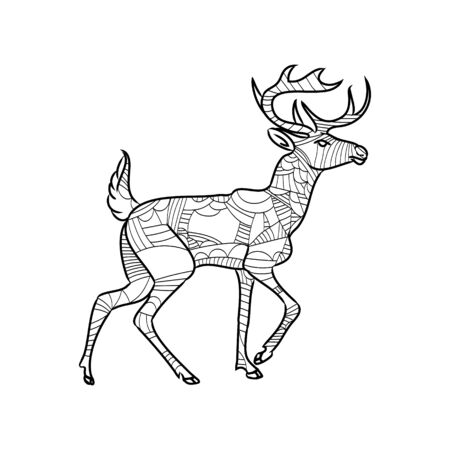 Highly detailed abstract deer illustration. Animal patterns with hand-drawn doodle waves and lines. Vector illustration in bright colors