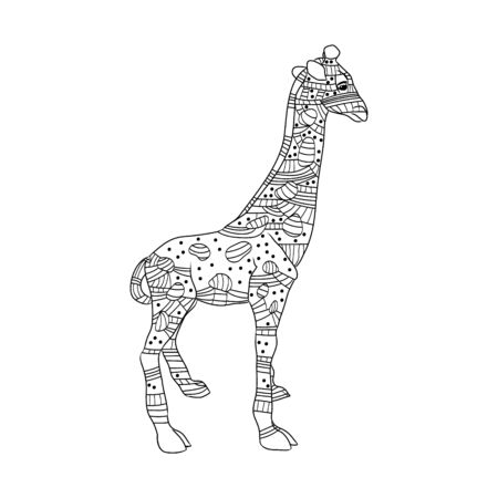 Highly detailed abstract giraffe  illustration. Animal patterns with hand-drawn doodle waves and lines. Vector illustration in bright colors 矢量图像
