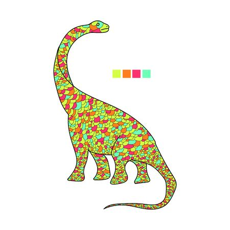 Highly detailed abstract dinosaur  illustration. Animal patterns with hand-drawn  doodle waves and lines. Vector illustration in bright colors 向量圖像