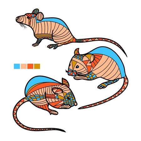 Highly detailed abstract mouse illustration. Animal patterns with hand-drawn doodle waves and lines. Vector illustration in bright colors 矢量图像