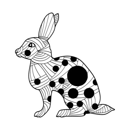 Highly detailed abstract rabbit illustration. Animal patterns with hand-drawn doodle waves and lines. Vector illustration in bright colors
