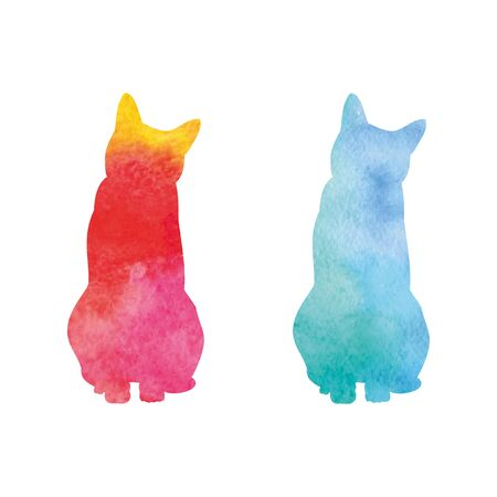 Watercolor spot in the form of a cat on a white background