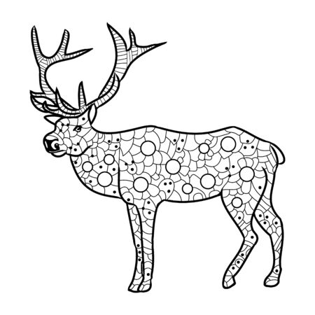 Highly detailed abstract deer illustration. Animal patterns with hand-drawn doodle waves and lines. 矢量图像
