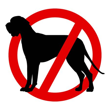 Prohibition sign, black dog in a red circle. No dogs allowed