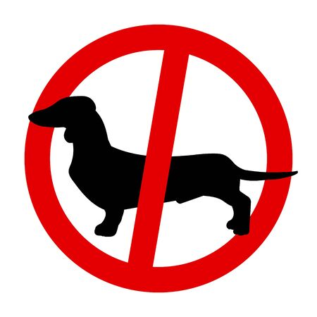 Prohibition sign, black Dachshund in a red circle. No dogs allowed