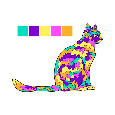 Outline of a cat on a white background, Doodle illustration