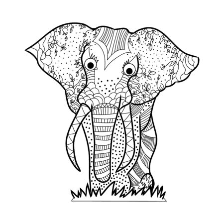 Outline of an elephant on a white background, Doodle illustration 矢量图像