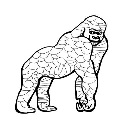 Outline of a gorilla on a white background, Doodle illustration