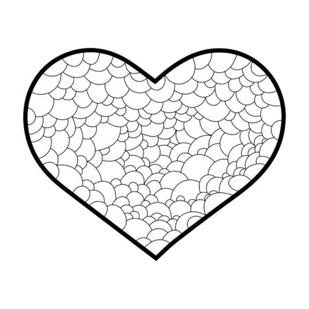 The outline of a heart on a white background, Doodle illustration 矢量图像